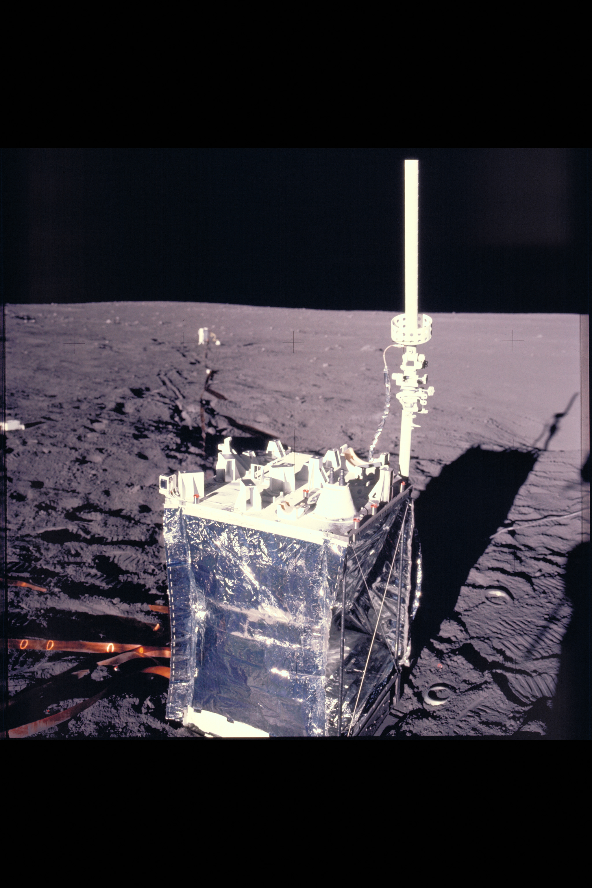 Apollo Crew landing site showing deployment of ALSEP Apollo Lunar Surface expeiments package Moon Surface Spacewalk Extravehicular Activity